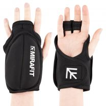 Womans Hands Wearing Black Mirafit Weighted Exercise Gloves on White Background