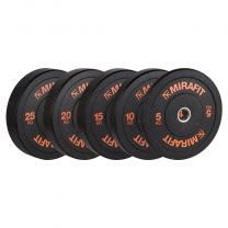 Mirafit Crumb Rubber Olympic Bumper Plates on White Background