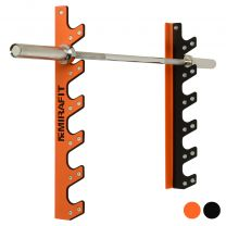 Mirafit Orange 6 Barbell Wall Rack Holding Barbell on White Background