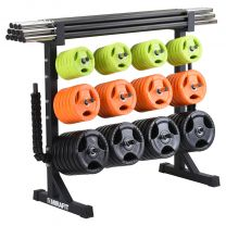 Mirafit Studio Pump Set Storage Rack Loaded with Pump Sets on White Background