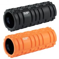 Mirafit Black and Orange Deluxe Hi Density Foam Rollers on White Background