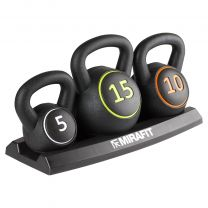 Mirafit 3 Piece Kettlebell Set with Stand on White Background