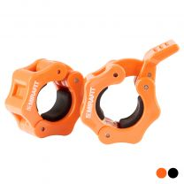 Pair of Mirafit 1 Inch Standard Weight Bar QR Collars on a White Background