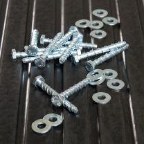 Set of 12 M10 Concrete Anchor Bolts and Washers on Gym Mats