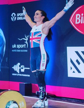 Mirafit Ambassador and Olympic Weightlifter Sarah Davis posing for Team GB